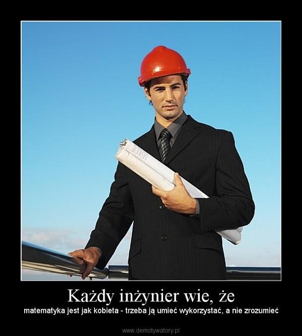 Każdy inżynier wie, że – matematyka jest jak kobieta - trzeba ją umieć wykorzystać, a nie zrozumieć