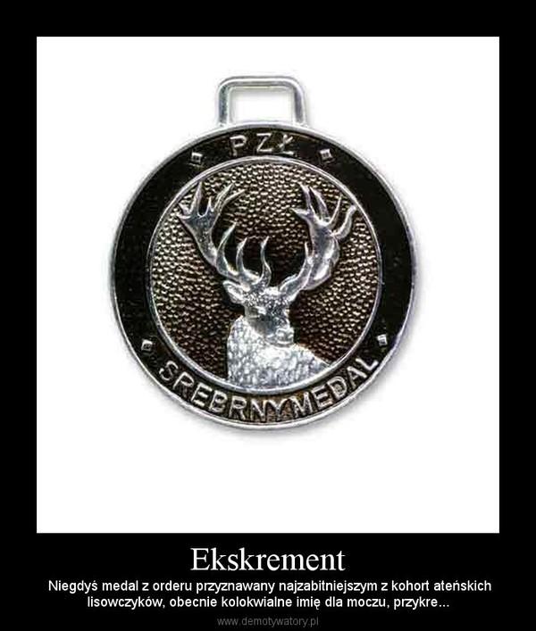 Ekskrement –  Niegdyś medal z orderu przyznawany najzabitniejszym z kohort ateńskichlisowczyków, obecnie kolokwialne imię dla moczu, przykre...