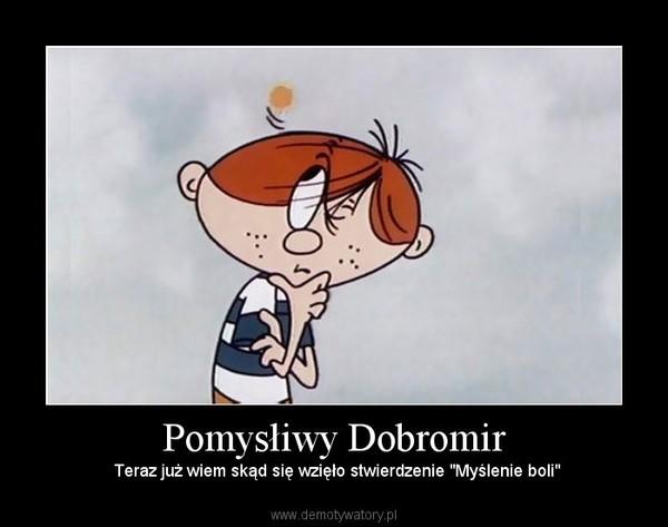 """Pomysłiwy Dobromir –  Teraz już wiem skąd się wzięło stwierdzenie """"Myślenie boli"""""""