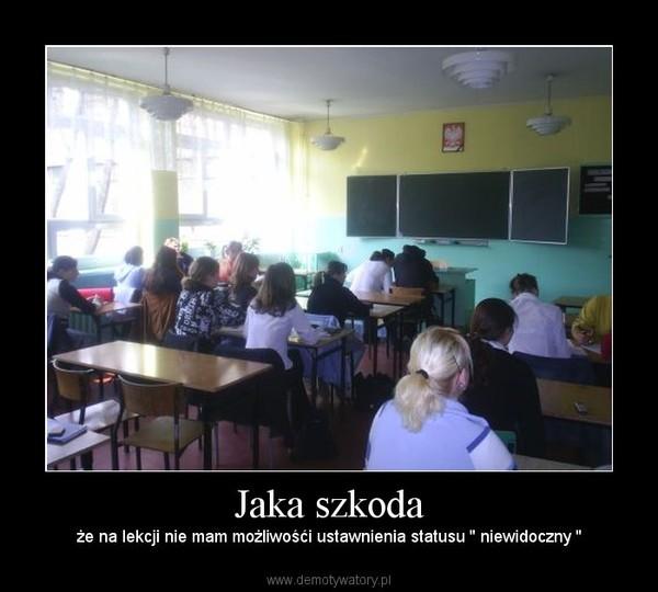 Jaka szkoda – że na lekcji nie mam możliwośći ustawnienia statusu '' niewidoczny ''