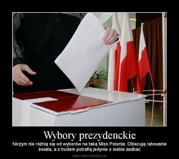 Wybory prezydenckie – Niczym nie różnią się od wyborów na taką Miss Polonia. Obiecują ratowanieświata, a z trudem potrafią jedynie o siebie zadbać