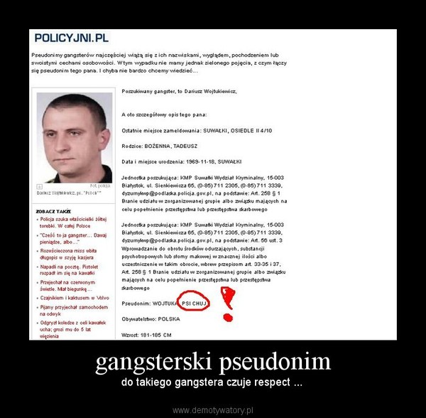 gangsterski pseudonim – do takiego gangstera czuje respect ...