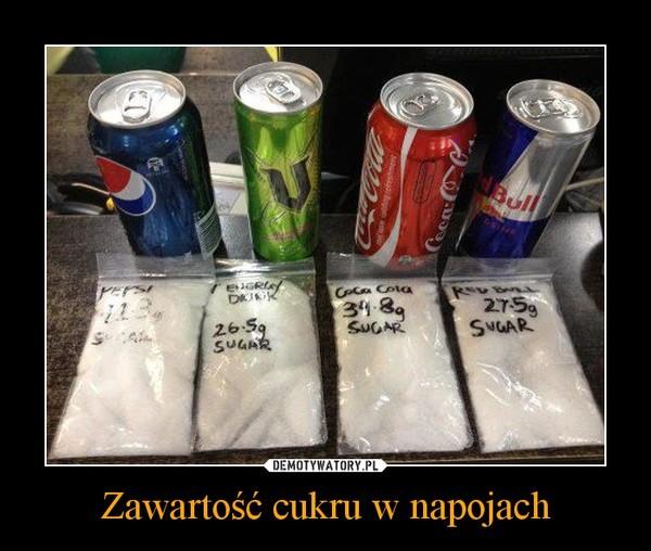 Zawartość cukru w napojach –