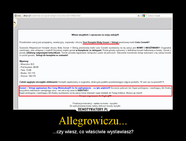 Allegrowiczu... – ...czy wiesz, co właściwie wystawiasz?