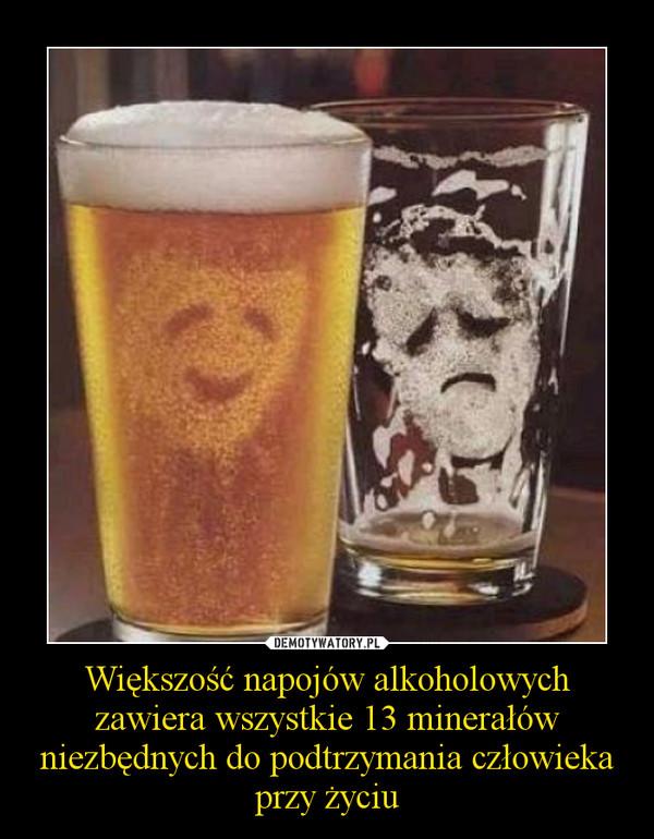 Większość napojów alkoholowych zawiera wszystkie 13 minerałów niezbędnych do podtrzymania człowieka przy życiu –