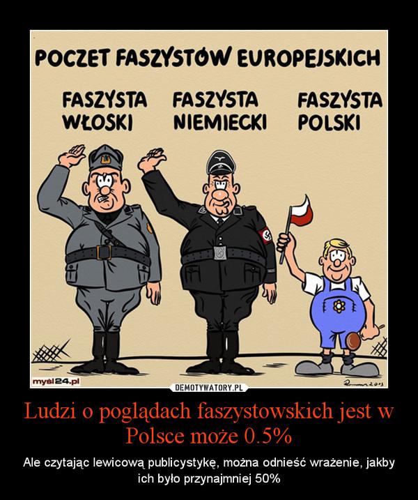 Ludzi o poglądach faszystowskich jest w Polsce może 0.5% – Ale czytając lewicową publicystykę, można odnieść wrażenie, jakby ich było przynajmniej 50%