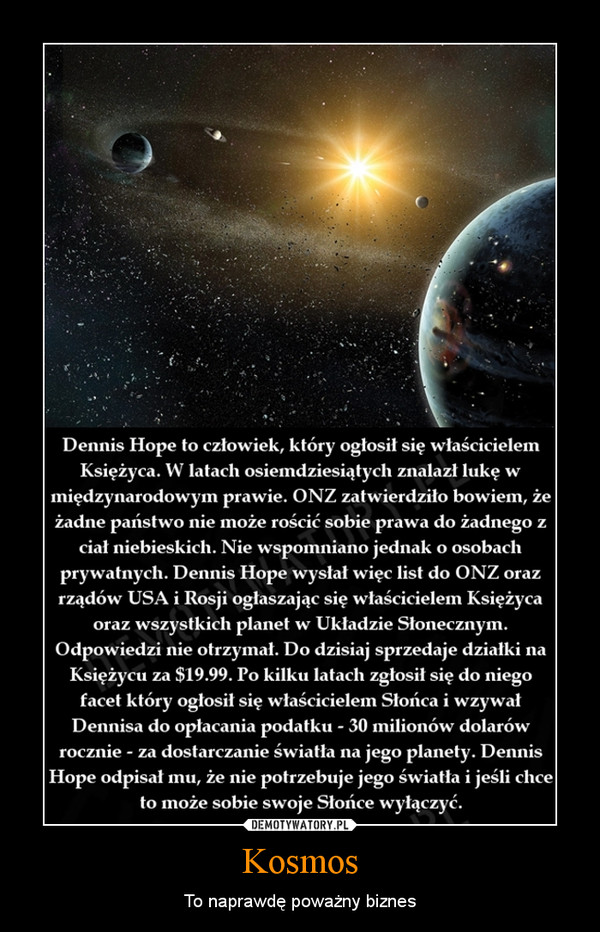Kosmos – To naprawdę poważny biznes