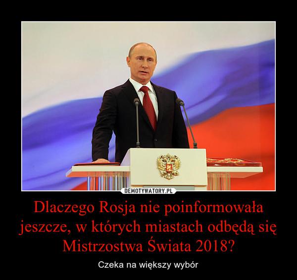 Dlaczego Rosja nie poinformowała jeszcze, w których miastach odbędą się Mistrzostwa Świata 2018? – Czeka na większy wybór