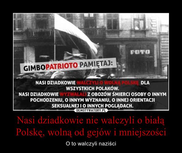 Nasi dziadkowie nie walczyli o białą Polskę, wolną od gejów i mniejszości – O to walczyli naziści