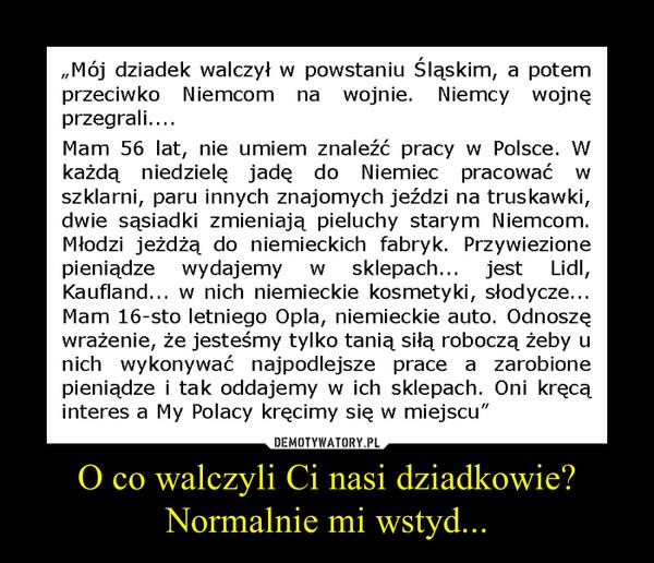 """O co walczyli Ci nasi dziadkowie? Normalnie mi wstyd... –   """"Mój dziadek walczył w powstaniu Śląskim, a potem przeciwko Niemcom na wojnie. Niemcy wojnę przegrali.... Mam 56 lat, nie umiem znaleźć pracy w Polsce. W każdą niedzielę jadę do Niemiec pracować w szklarni, paru innych znajomych jeździ na truskawki, dwie sąsiadki zmieniają pieluchy starym Niemcom. Młodzi jeżdżą do niemieckich fabryk. Przywiezione pieniądze wydajemy w sklepach... jest Lidl, Kaufland... w nich niemieckie kosmetyki, słodycze... Mam 16-sto letniego Opia, niemieckie auto. Odnoszę wrażenie, że jesteśmy tylko tanią siłą roboczą żeby u nich wykonywać najpodlejsze prace a zarobione pieniądze i tak oddajemy w ich sklepach. Oni kręcą interes a My Polacy kręcimy się w miejscu"""""""