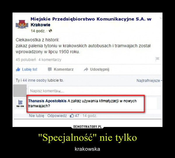 ''Specjalność'' nie tylko – krakowska