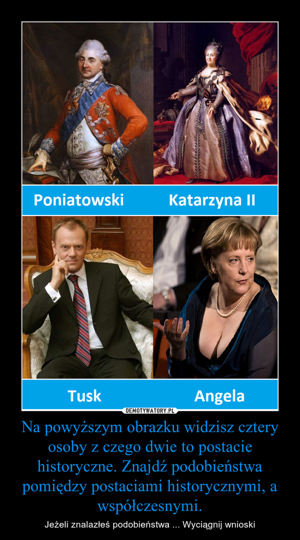 Na powyższym obrazku widzisz cztery osoby z czego dwie to postacie historyczne. Znajdź podobieństwa pomiędzy postaciami historycznymi, a współczesnymi. – Jeżeli znalazłeś podobieństwa ... Wyciągnij wnioski