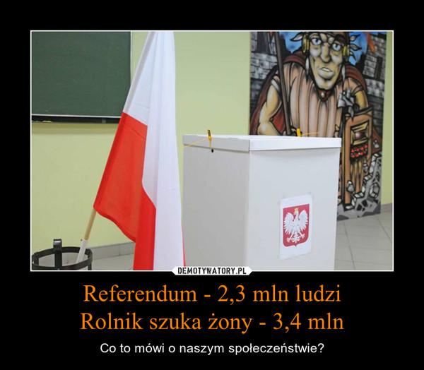 Referendum - 2,3 mln ludziRolnik szuka żony - 3,4 mln – Co to mówi o naszym społeczeństwie?