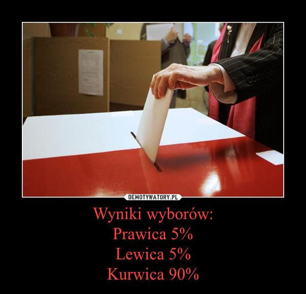 Wyniki wyborów:Prawica 5%Lewica 5%Kurwica 90% –