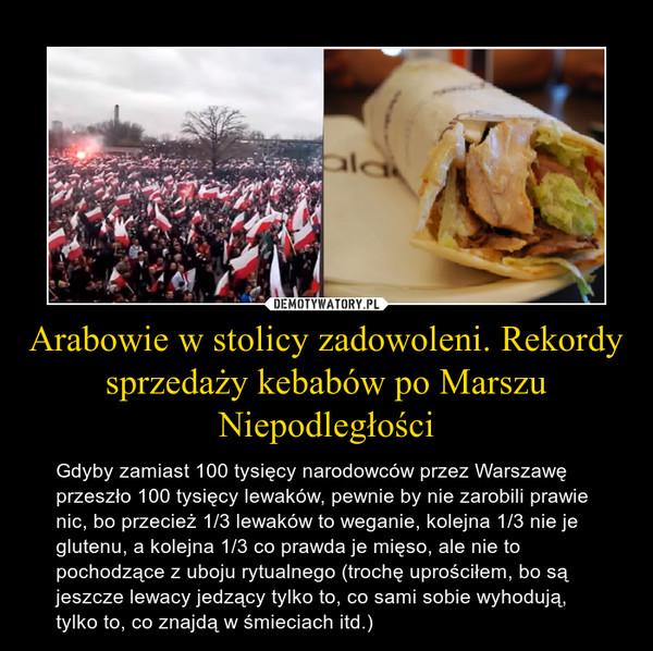 Arabowie w stolicy zadowoleni. Rekordy sprzedaży kebabów po Marszu Niepodległości – Gdyby zamiast 100 tysięcy narodowców przez Warszawę przeszło 100 tysięcy lewaków, pewnie by nie zarobili prawie nic, bo przecież 1/3 lewaków to weganie, kolejna 1/3 nie je glutenu, a kolejna 1/3 co prawda je mięso, ale nie to pochodzące z uboju rytualnego (trochę uprościłem, bo są jeszcze lewacy jedzący tylko to, co sami sobie wyhodują, tylko to, co znajdą w śmieciach itd.)