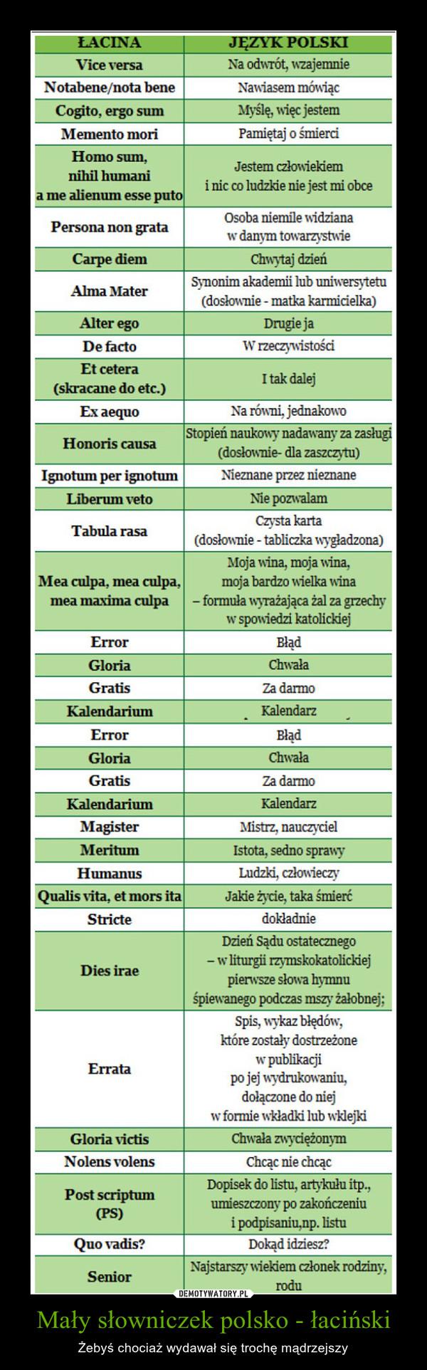 Mały słowniczek polsko - łaciński – Żebyś chociaż wydawał się trochę mądrzejszy