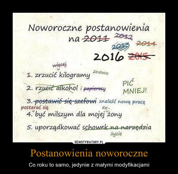 Postanowienia noworoczne – Co roku to samo, jedynie z małymi modyfikacjami