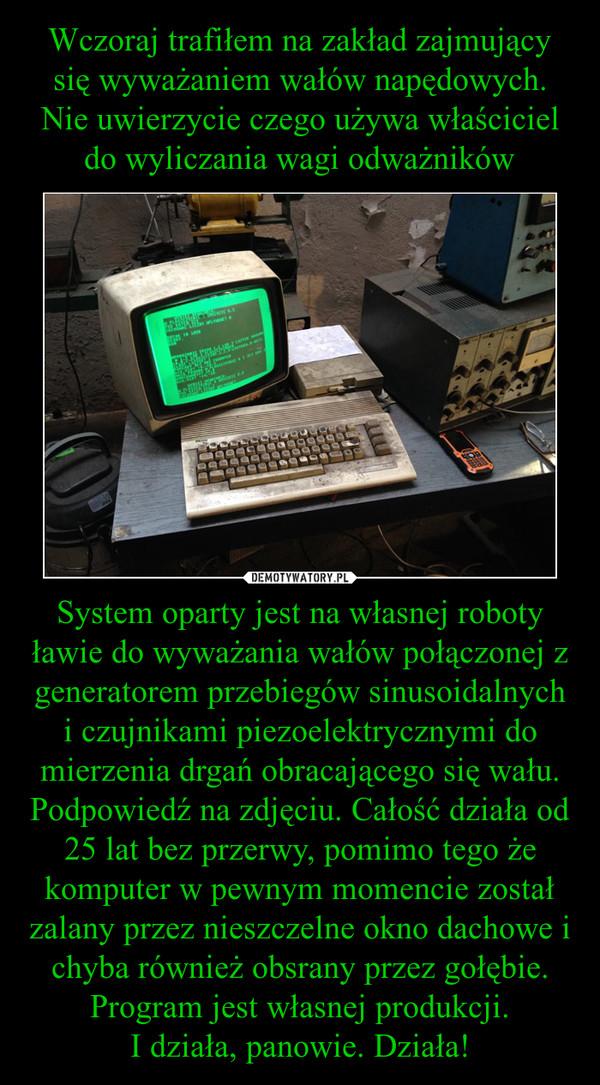 System oparty jest na własnej roboty ławie do wyważania wałów połączonej z generatorem przebiegów sinusoidalnych i czujnikami piezoelektrycznymi do mierzenia drgań obracającego się wału. Podpowiedź na zdjęciu. Całość działa od 25 lat bez przerwy, pomimo t –