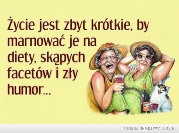 Życie jest zbyt krótkie –  Życie jest zbyt krótkie, by marnować je na diety, skąpych facetów i zły humor...