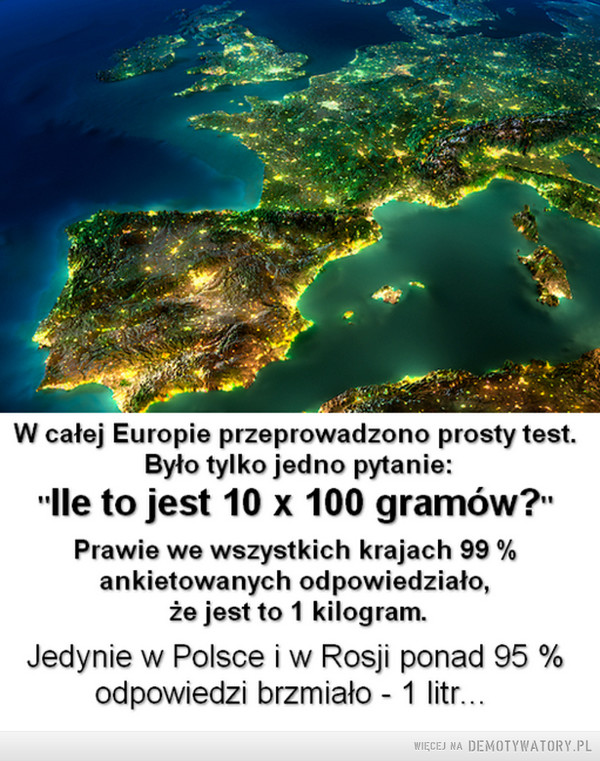 """Jedno pytanie –  W całej Europie przeprowadzono prosty test. Było tylko jedno pytanie :"""" Ile to jest 10 x 100 gramów""""Prawie we wszystkich krajach 99 % ankietowanych odpowiedziało że jest to 1 kilogram.Jedynie w Polsce i w Rosji ponad 95 % odpowiedzi brzmiało - 1 litr"""