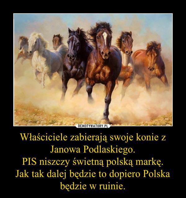 Właściciele zabierają swoje konie z Janowa Podlaskiego.PIS niszczy świetną polską markę.Jak tak dalej będzie to dopiero Polska będzie w ruinie. –