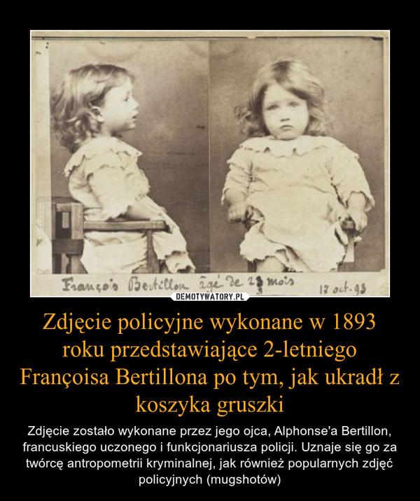 Zdjęcie policyjne wykonane w 1893 roku przedstawiające 2-letniego Françoisa Bertillona po tym, jak ukradł z koszyka gruszki – Zdjęcie zostało wykonane przez jego ojca, Alphonse'a Bertillon, francuskiego uczonego i funkcjonariusza policji. Uznaje się go za twórcę antropometrii kryminalnej, jak również popularnych zdjęć policyjnych (mugshotów)