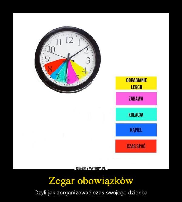 Zegar obowiązków – Czyli jak zorganizować czas swojego dziecka