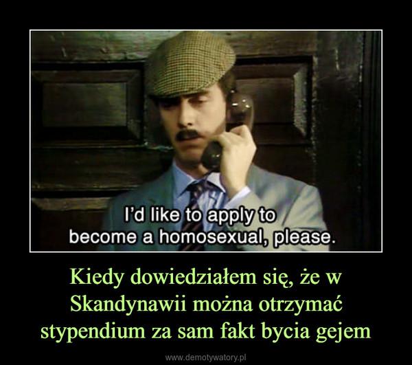 Kiedy dowiedziałem się, że w Skandynawii można otrzymać stypendium za sam fakt bycia gejem –