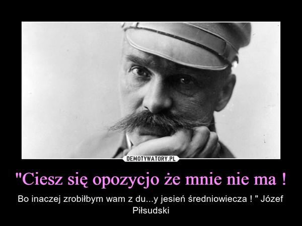"""""""Ciesz się opozycjo że mnie nie ma ! – Bo inaczej zrobiłbym wam z du...y jesień średniowiecza ! """" Józef Piłsudski"""