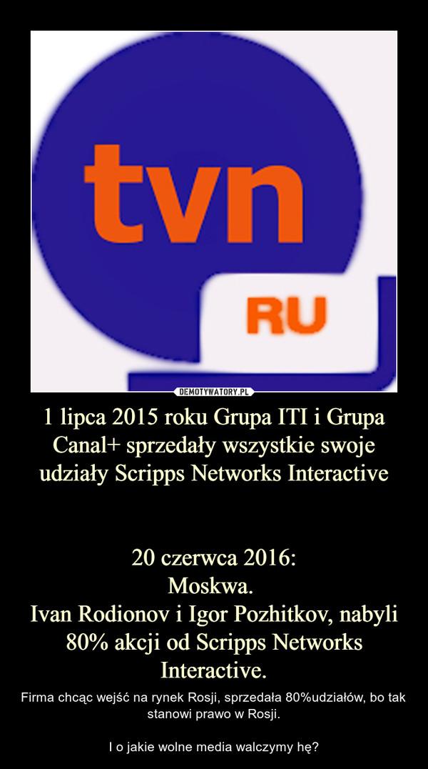 1 lipca 2015 roku Grupa ITI i Grupa Canal+ sprzedały wszystkie swoje udziały Scripps Networks Interactive   20 czerwca 2016: Moskwa.  Ivan Rodionov i Igor Pozhitkov, nabyli 80% akcji od Scripps Networks Interactive.