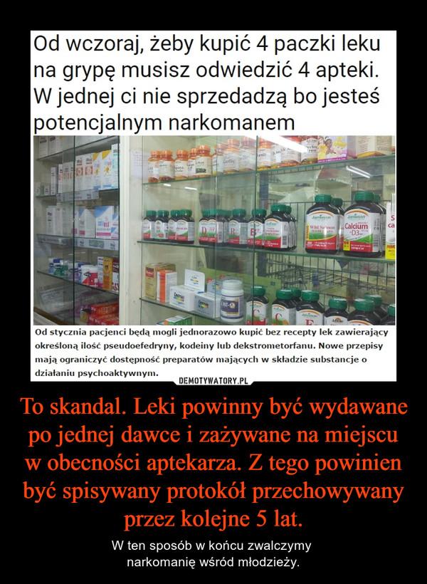 To skandal. Leki powinny być wydawane po jednej dawce i zażywane na miejscu w obecności aptekarza. Z tego powinien być spisywany protokół przechowywany przez kolejne 5 lat. – W ten sposób w końcu zwalczymy narkomanię wśród młodzieży.