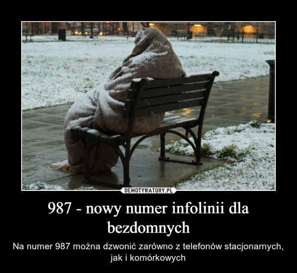 987 - nowy numer infolinii dla bezdomnych – Na numer 987 można dzwonić zarówno z telefonów stacjonarnych, jak i komórkowych