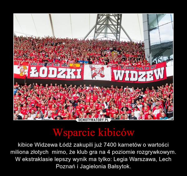 Wsparcie kibiców – kibice Widzewa Łódź zakupili już 7400 karnetów o wartości miliona złotych  mimo, że klub gra na 4 poziomie rozgrywkowym. W ekstraklasie lepszy wynik ma tylko: Legia Warszawa, Lech Poznań i Jagielonia Bałsytok.