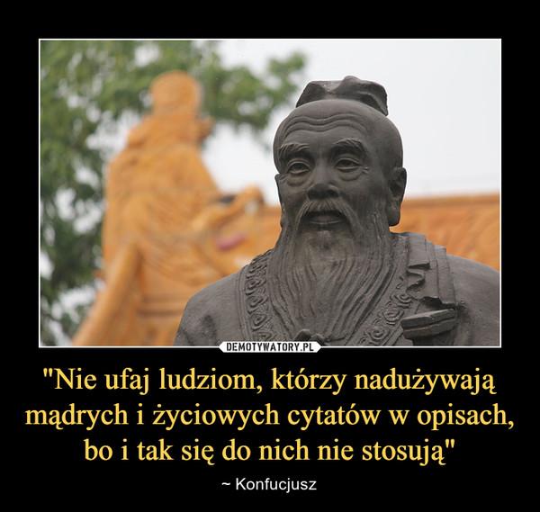 """""""Nie ufaj ludziom, którzy nadużywają mądrych i życiowych cytatów w opisach, bo i tak się do nich nie stosują"""" – ~ Konfucjusz"""