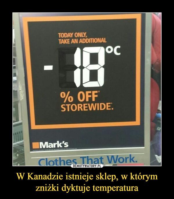 W Kanadzie istnieje sklep, w którymzniżki dyktuje temperatura –