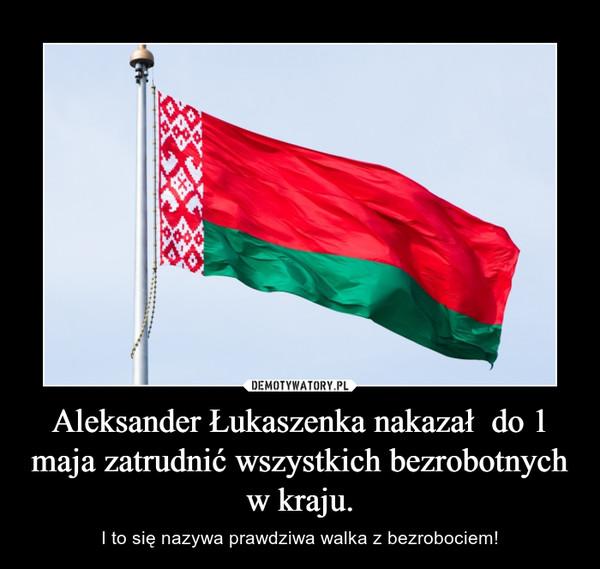 Aleksander Łukaszenka nakazał  do 1 maja zatrudnić wszystkich bezrobotnych w kraju. – I to się nazywa prawdziwa walka z bezrobociem!