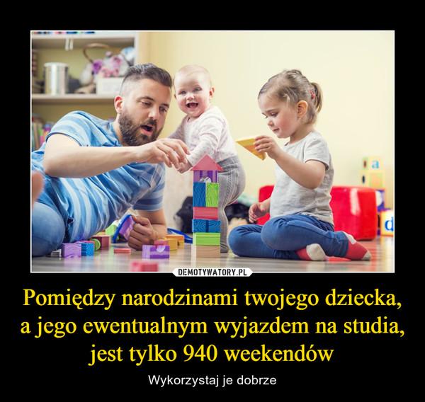 Pomiędzy narodzinami twojego dziecka, a jego ewentualnym wyjazdem na studia, jest tylko 940 weekendów – Wykorzystaj je dobrze