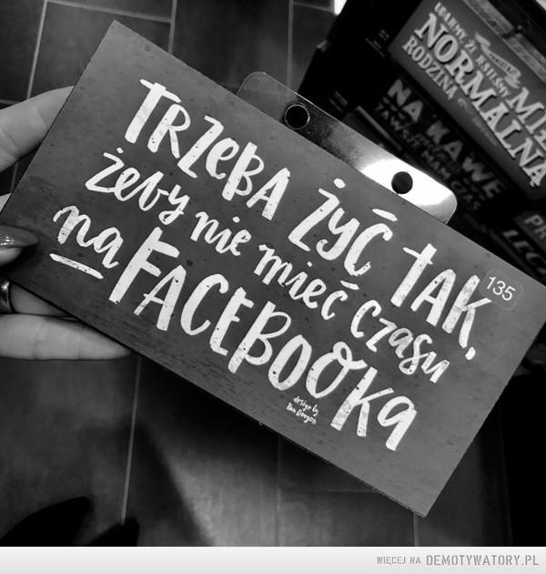 Recepta na szczęście –  Trzeba żyć tak, żeby nie mieć czasu na facebooka