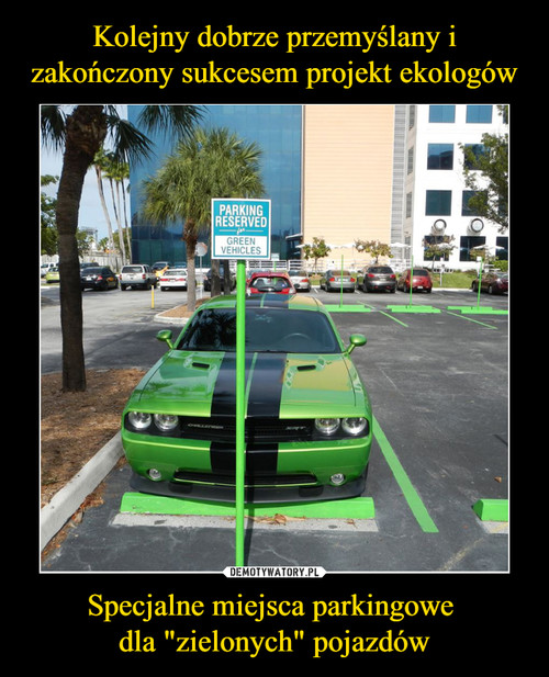 """Kolejny dobrze przemyślany i zakończony sukcesem projekt ekologów Specjalne miejsca parkingowe  dla """"zielonych"""" pojazdów"""