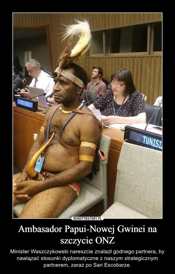 Ambasador Papui-Nowej Gwinei na szczycie ONZ – Minister Waszczykowski nareszcie znalazł godnego partnera, by nawiązać stosunki dyplomatyczne z naszym strategicznym partnerem, zaraz po San Escobarze.