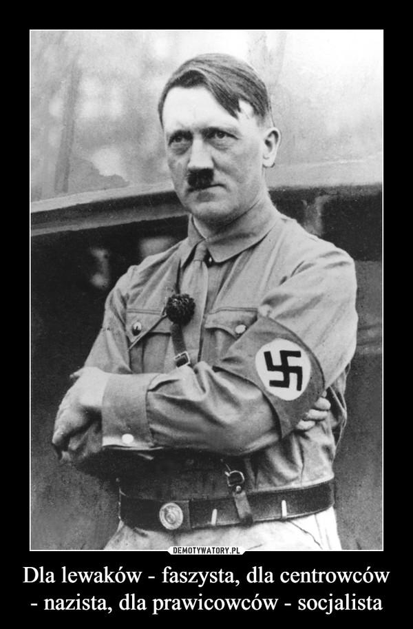 Dla lewaków - faszysta, dla centrowców - nazista, dla prawicowców - socjalista –