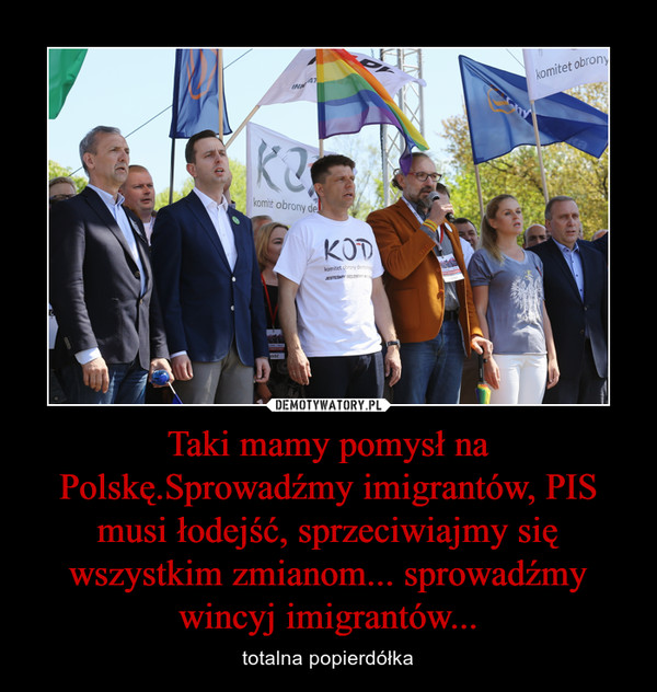 Taki mamy pomysł na Polskę.Sprowadźmy imigrantów, PIS musi łodejść, sprzeciwiajmy się wszystkim zmianom... sprowadźmy wincyj imigrantów... – totalna popierdółka