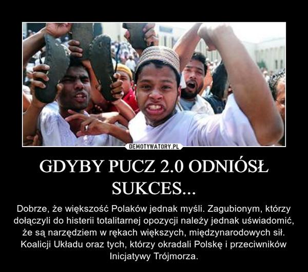 GDYBY PUCZ 2.0 ODNIÓSŁ SUKCES... – Dobrze, że większość Polaków jednak myśli. Zagubionym, którzy dołączyli do histerii totalitarnej opozycji należy jednak uświadomić, że są narzędziem w rękach większych, międzynarodowych sił. Koalicji Układu oraz tych, którzy okradali Polskę i przeciwników Inicjatywy Trójmorza.