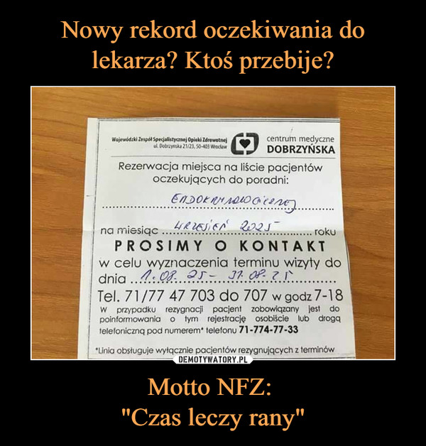 """Motto NFZ: """"Czas leczy rany"""" –  Rezerwacja miejsca na liście pacjentów oczekujących do poradni"""