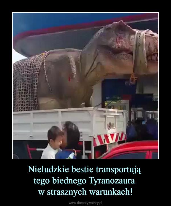 Nieludzkie bestie transportują tego biednego Tyranozaura w strasznych warunkach! –