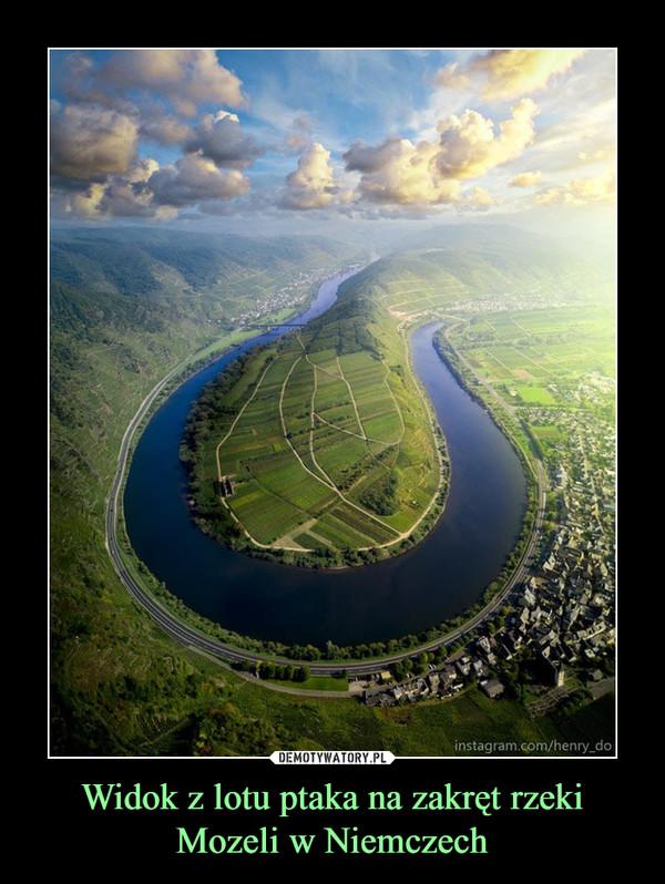 Widok z lotu ptaka na zakręt rzeki Mozeli w Niemczech –