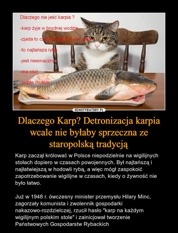 """Dlaczego Karp? Detronizacja karpia wcale nie byłaby sprzeczna ze staropolską tradycją – Karp zaczął królować w Polsce niepodzielnie na wigilijnych stołach dopiero w czasach powojennych. Był najtańszą i najłatwiejszą w hodowli rybą, a więc mógł zaspokoić zapotrzebowanie wigilijne w czasach, kiedy o żywność nie było łatwo. Już w 1948 r. ówczesny minister przemysłu Hilary Minc, zagorzały komunista i zwolennik gospodarki nakazowo-rozdzielczej, rzucił hasło """"karp na każdym wigilijnym polskim stole"""" i zainicjował tworzenie Państwowych Gospodarstw Rybackich Dlaczego nie jeść karpia?-zjada to cżego nigdy bys nie zjad-to najtańsza ryl-jest niesmacznma oso-jedzie mułem"""