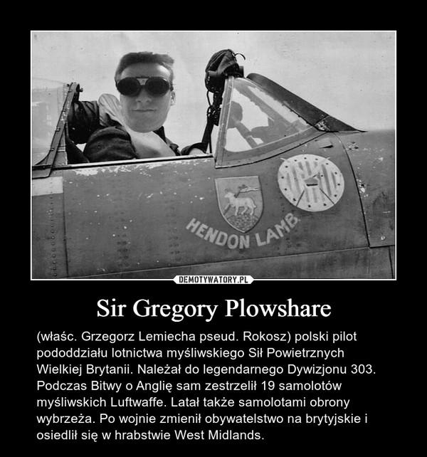 Sir Gregory Plowshare – (właśc. Grzegorz Lemiecha pseud. Rokosz) polski pilot pododdziału lotnictwa myśliwskiego Sił Powietrznych Wielkiej Brytanii. Należał do legendarnego Dywizjonu 303. Podczas Bitwy o Anglię sam zestrzelił 19 samolotów myśliwskich Luftwaffe. Latał także samolotami obrony wybrzeża. Po wojnie zmienił obywatelstwo na brytyjskie i osiedlił się w hrabstwie West Midlands.