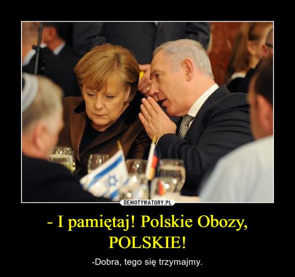 - I pamiętaj! Polskie Obozy, POLSKIE! – -Dobra, tego się trzymajmy.