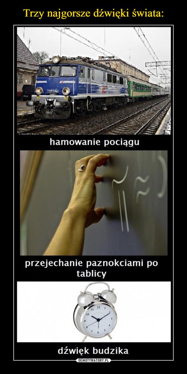 –  hamowanie pociąguprzejechanie paznokciami potablicydźwięk budzika